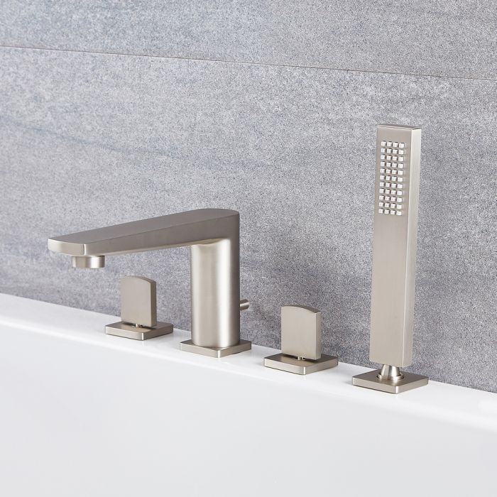 Arcadia – Modern Roman Tub Faucet with Hand Shower - Multiple Finishes Available