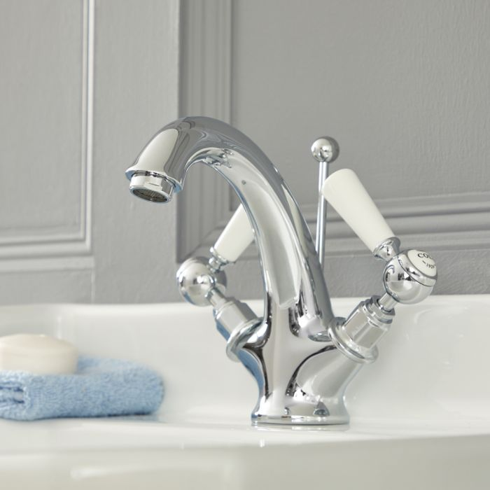 Elizabeth - Traditional Single-Hole Lever Handle Bathroom Mixer Faucet – Chrome and White