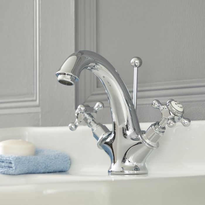 Elizabeth - Traditional Single-Hole Cross Handle Bathroom Mixer Faucet – Chrome and White