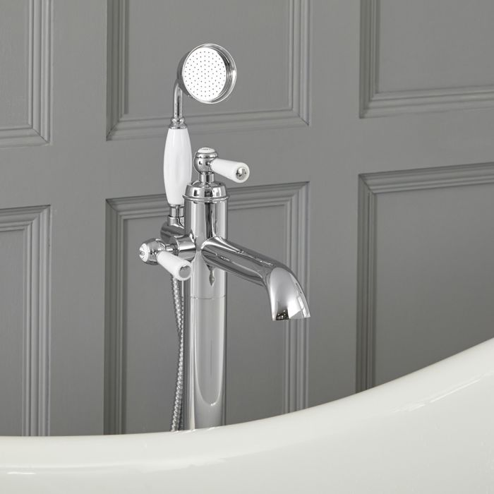 Elizabeth - Traditional Freestanding Lever Handle Tub Faucet with Hand Shower – Chrome and White