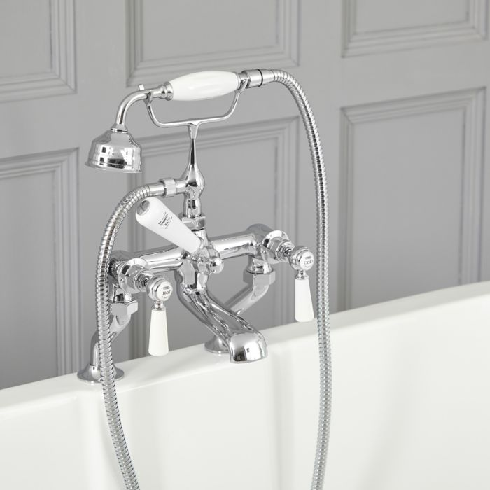 Elizabeth - Traditional Deck Mount Lever Handle Tub Faucet with Telephone Style Hand Shower – Chrome and White