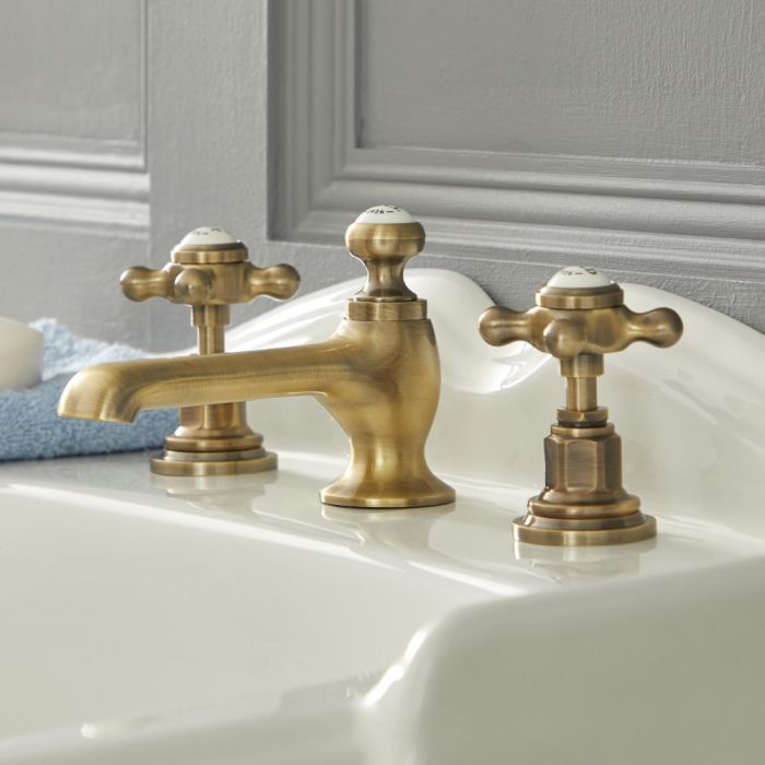 Elizabeth - Traditional Widespread Cross Handle Bathroom Faucet - Brushed Gold
