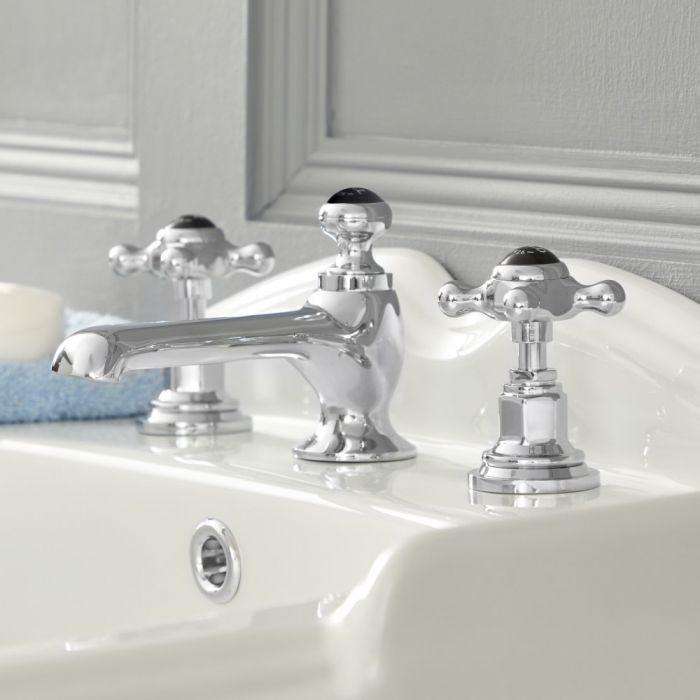 Elizabeth - Traditional Widespread Cross Handle Bathroom Faucet – Chrome and Black