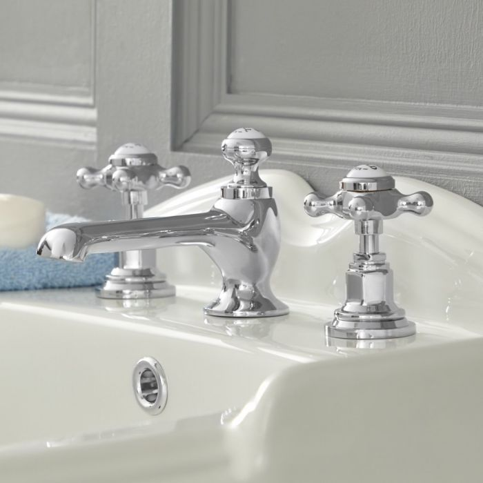 Elizabeth - Traditional Widespread Cross Handle Bathroom Faucet – Chrome and White