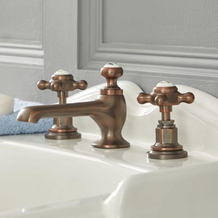 Elizabeth - Traditional Widespread Cross Handle Bathroom Faucet - Oil Rubbed Bronze