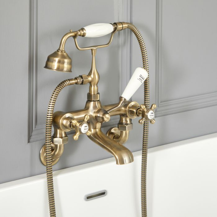 Elizabeth - Traditional Wall Mounted Tub Faucet with Telephone Style Hand Shower - Brushed Gold