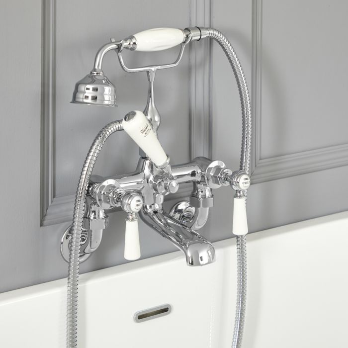 Elizabeth - Traditional Wall Mounted Tub Faucet with Telephone Style Hand Shower - Chrome/White