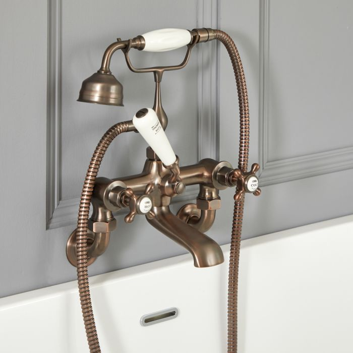 Elizabeth - Traditional Wall Mounted Tub Faucet with Telephone Style Hand Shower - Oil Rubbed Bronze