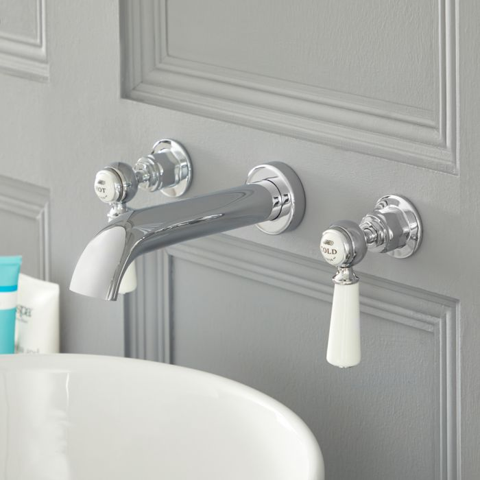 Elizabeth - Traditional Wall Mounted Widespread Bathroom Faucet - Chrome/White