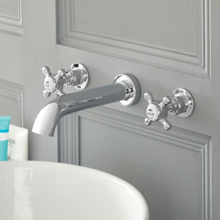 Elizabeth - Traditional Wall Mounted Cross Handle Widespread Bathroom Faucet - Chrome/White