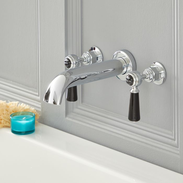 Elizabeth - Traditional Wall Mounted Widespread Tub Faucet - Chrome/Black