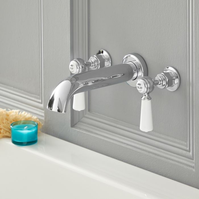 Elizabeth - Traditional Wall Mounted Widespread Tub Faucet - Chrome/White