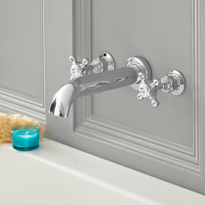 Elizabeth - Traditional Wall Mounted Cross Handle Widespread Tub Faucet - Chrome/White