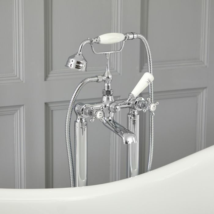 Elizabeth - Traditional Freestanding Cross Handle Tub Faucet with Telephone Style Hand Shower - Chrome/White