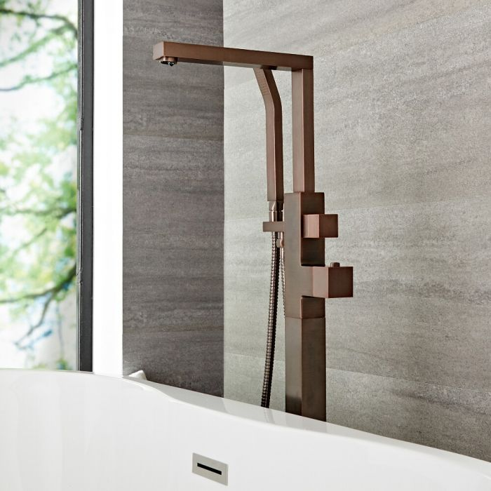 Kubix - Oil-Rubbed Bronze Freestanding Tub Faucet with Hand Shower
