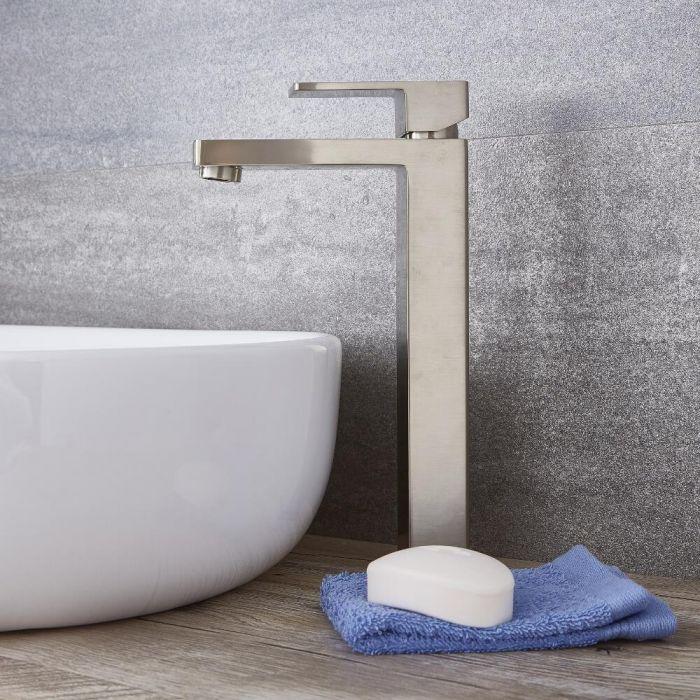 Kubix - Brushed Nickel Single-Hole Vessel Faucet