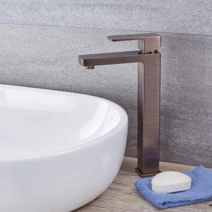 Kubix - Oil-Rubbed Bronze Single-Hole Vessel Faucet