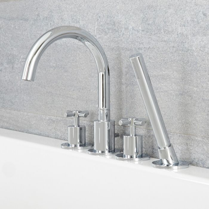 Tec - Chrome Roman Tub Faucet with Hand Shower