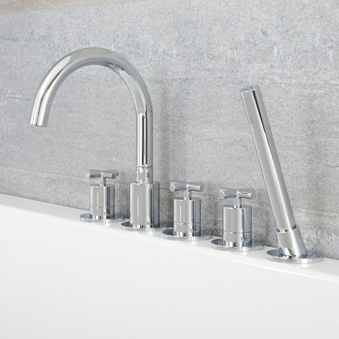 Tec - Chrome Roman Tub Faucet and Hand Shower