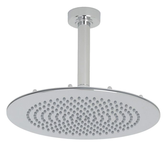 "Valquest 12"" Round Thin Shower Head with Round Ceiling Arm"