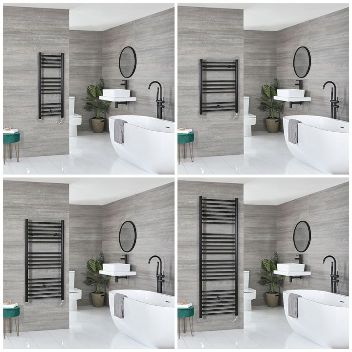 Nox Electric - Matt Black Flat Towel Warmer - Choice of Size