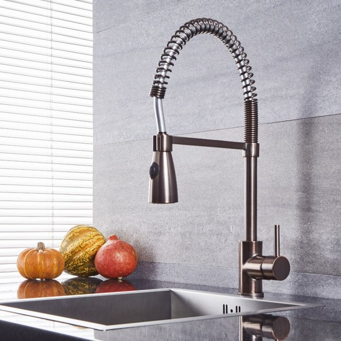 Quest - Oil-Rubbed Bronze Kitchen Faucet with Spring Spout