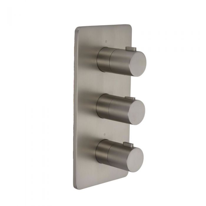 Arcadia - Brushed Nickel Triple Thermostatic Shower Valve - Two Outlets