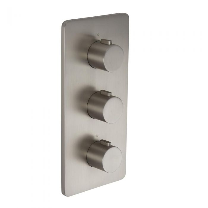 Arcadia - Brushed Nickel Triple Thermostatic Shower Valve with Diverter - Three Outlets