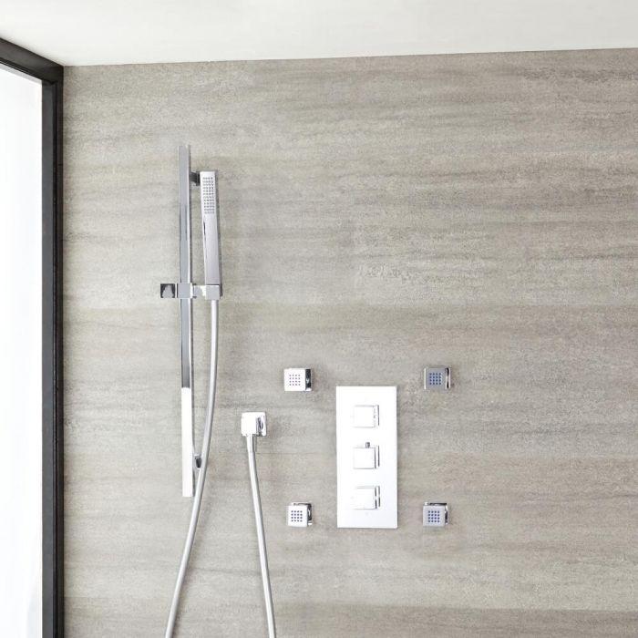Kubix Thermostatic Chrome Shower System with Slide Rail Kit and 4 Body Sprays