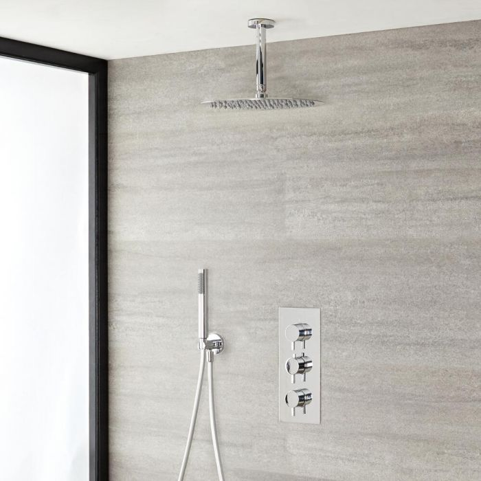 """Quest Thermostatic Chrome Shower System with Ceiling Mount 12"""" Shower Head and Hand Shower"""