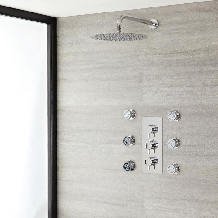 """Quest Thermostatic Chrome Shower System with Wall Mount 12"""" Shower Head and 4 Body Sprays"""