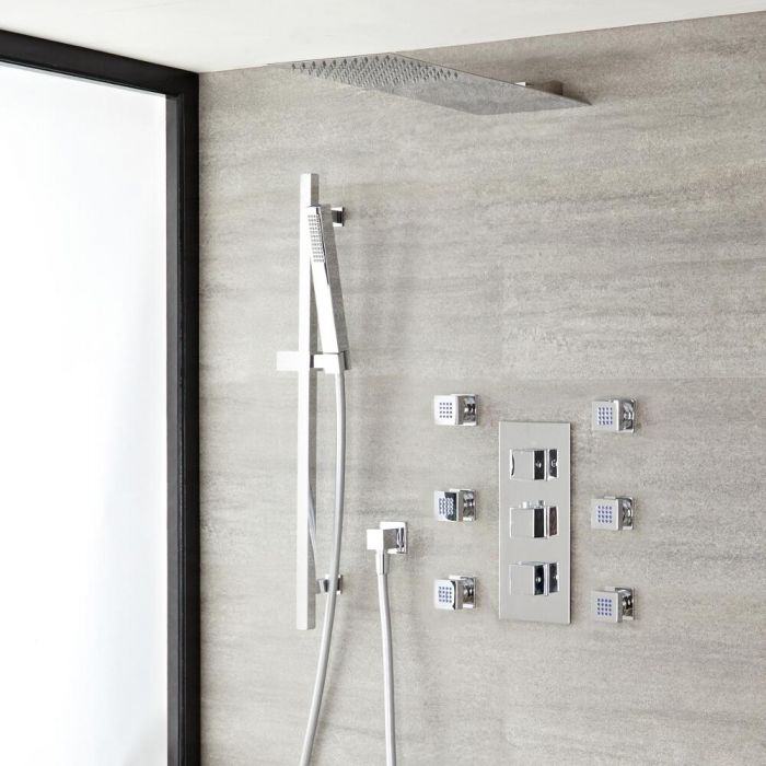 Kubix Thermostatic Chrome Shower System with Ultra Slim Shower Head, Slide Rail Kit and 6 Body Sprays