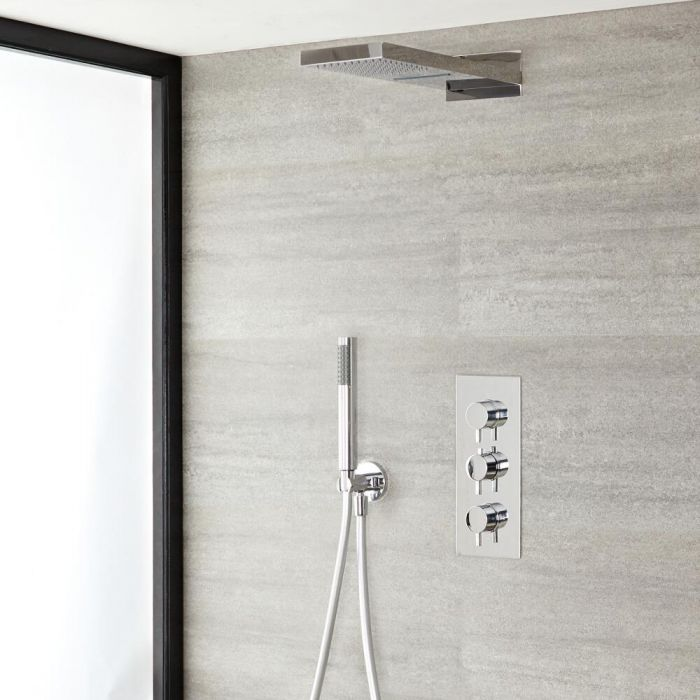 Quest Thermostatic Chrome Shower System with Waterblade Shower Head and Hand Shower