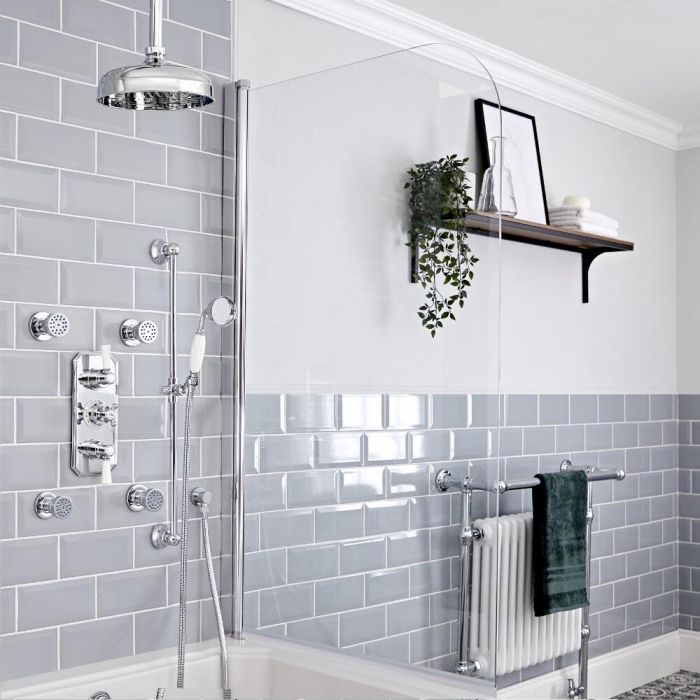 """Elizabeth Traditional Thermostatic Chrome Shower System with Ceiling Mount 12"""" Shower Head,  Slide Rail Kit and 4 Body Sprays"""