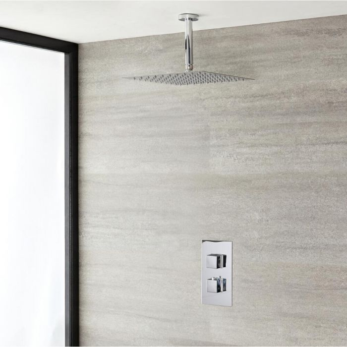 """Kubix Thermostatic Chrome Shower System with Ceiling Mount 15 3/4"""" Shower Head"""