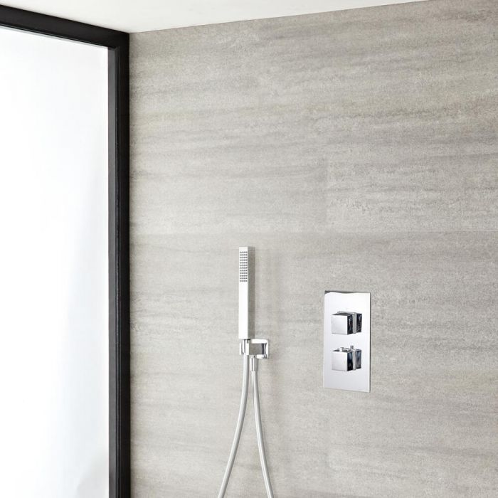 Kubix Thermostatic Chrome Shower System with Hand Shower