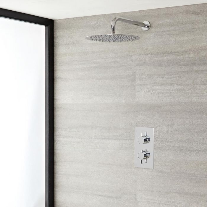 """Quest Thermostatic Chrome Shower System with Wall Mount 8"""" Shower Head"""