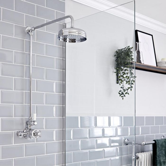 Elizabeth Traditional Exposed Thermostatic Chrome Shower System with Apron Head Rigid Riser