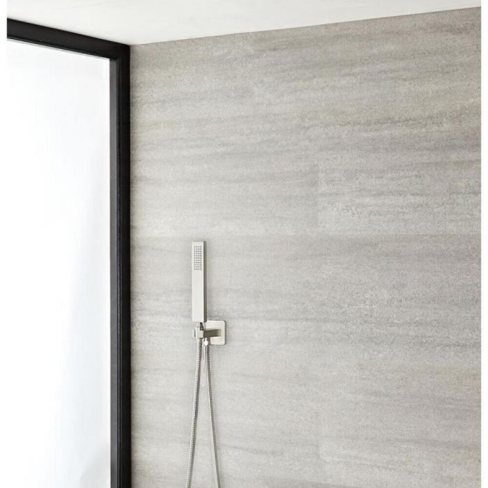 Arcadia Square Brushed Nickel Shower Kit with Integrated Outlet Elbow and Parking Bracket