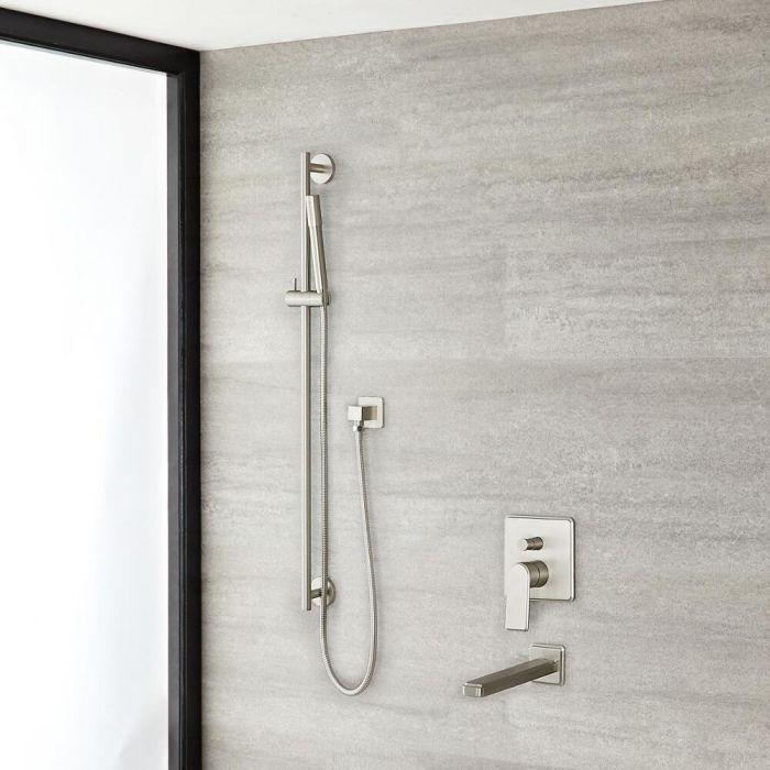 Eclipse Brushed Nickel Shower System with Slide Rail Kit and Tub Filler
