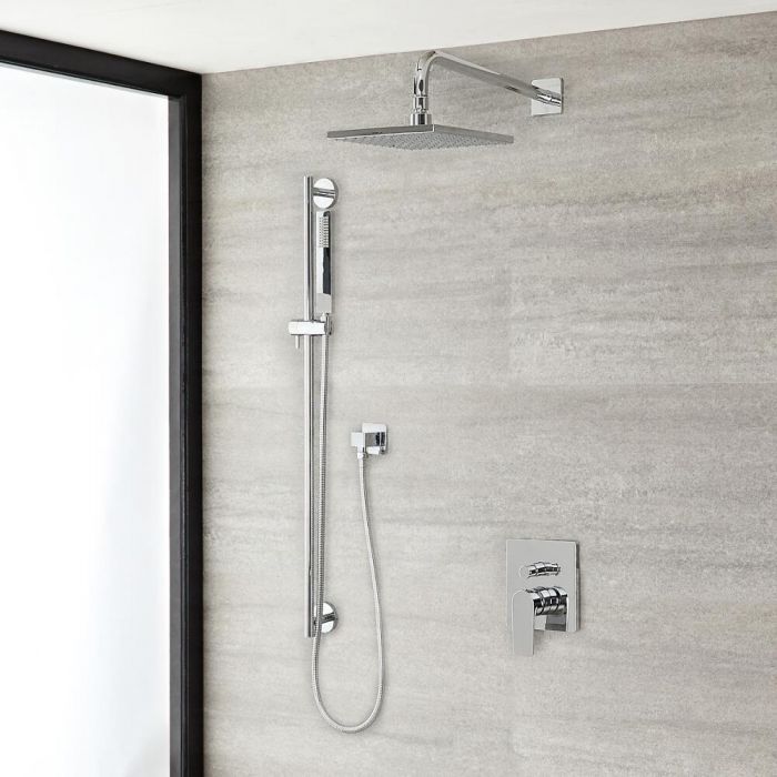 """Arcadia Chrome Shower System with 8"""" Shower Head and Slide Rail Kit"""