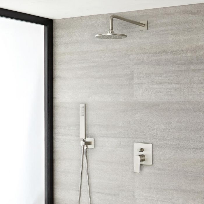 "Eclipse Brushed Nickel Shower System with 8"" Shower Head and Handshower"