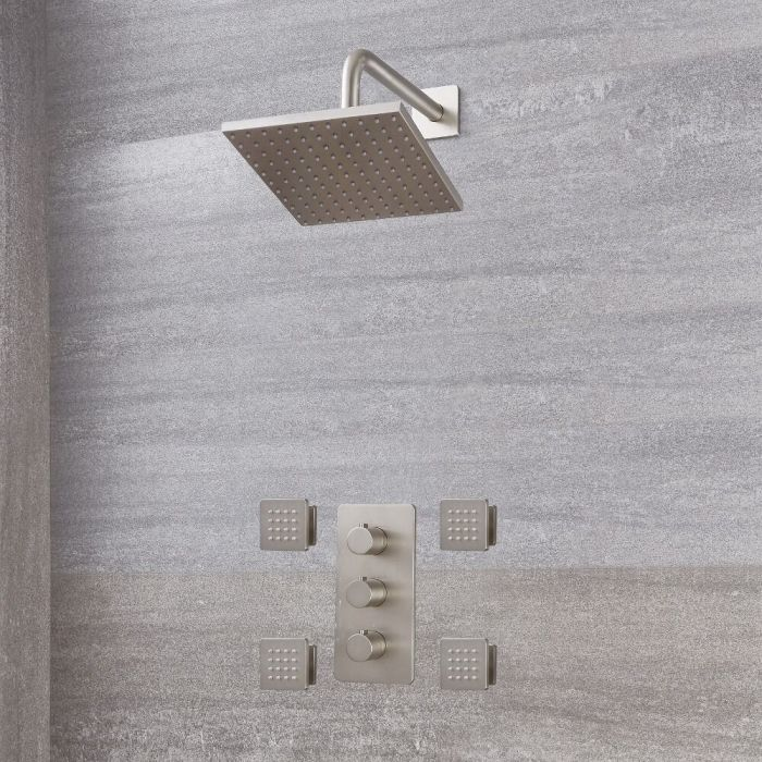 """Arcadia Thermostatic Shower System with 8"""" Shower Head and 4 Body Sprays - Available in Multiple Finishes"""