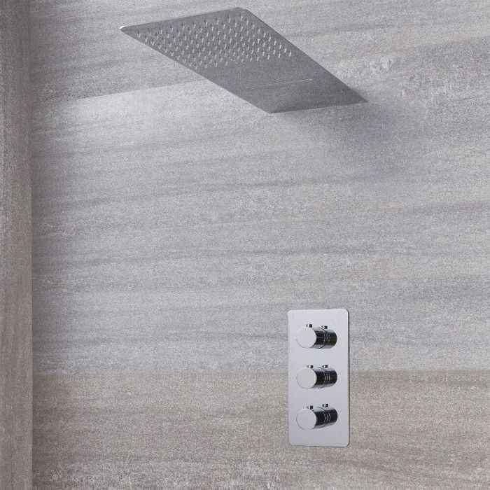Arcadia Thermostatic Shower System with Waterfall Shower Head - Available in Multiple Finishes