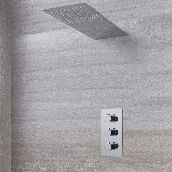 Arcadia Thermostatic Chrome Shower System with Waterfall Shower Head