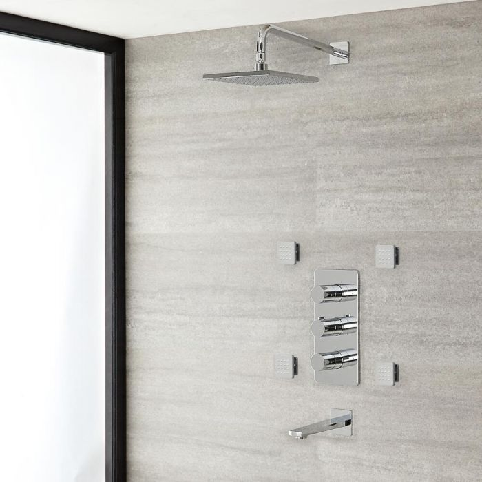"""Arcadia Thermostatic Chrome Shower System with 8"""" Shower Head, Tub Spout and 4 Body Sprays"""