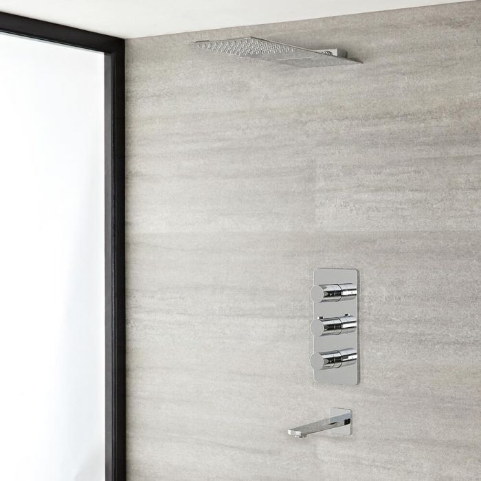 Arcadia Thermostatic Chrome Shower System with Waterfall Head and Tub Spout