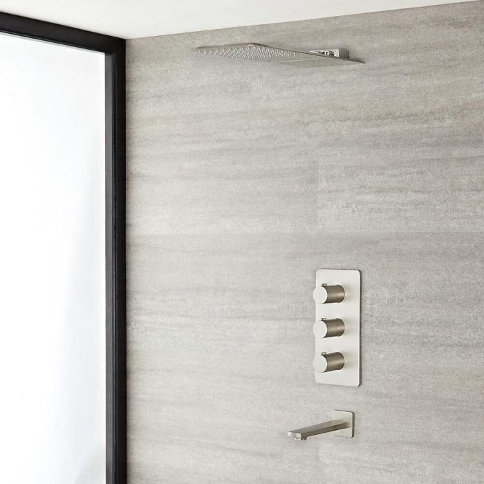 Arcadia Thermostatic Brushed Nickel Shower System with Waterfall Head and Tub Spout