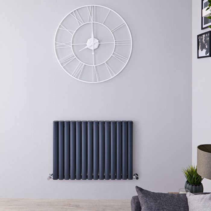 "Revive Air - Anthracite Aluminum Horizontal Double-Panel Designer Radiator - 23.5"" x 32.75"""