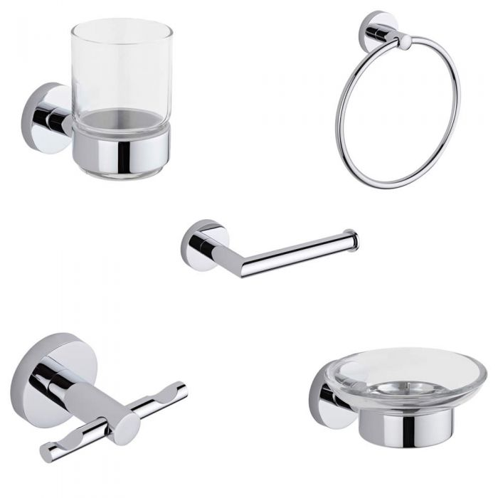 Prise Chrome Bathroom Accessory Set (5 Pieces)